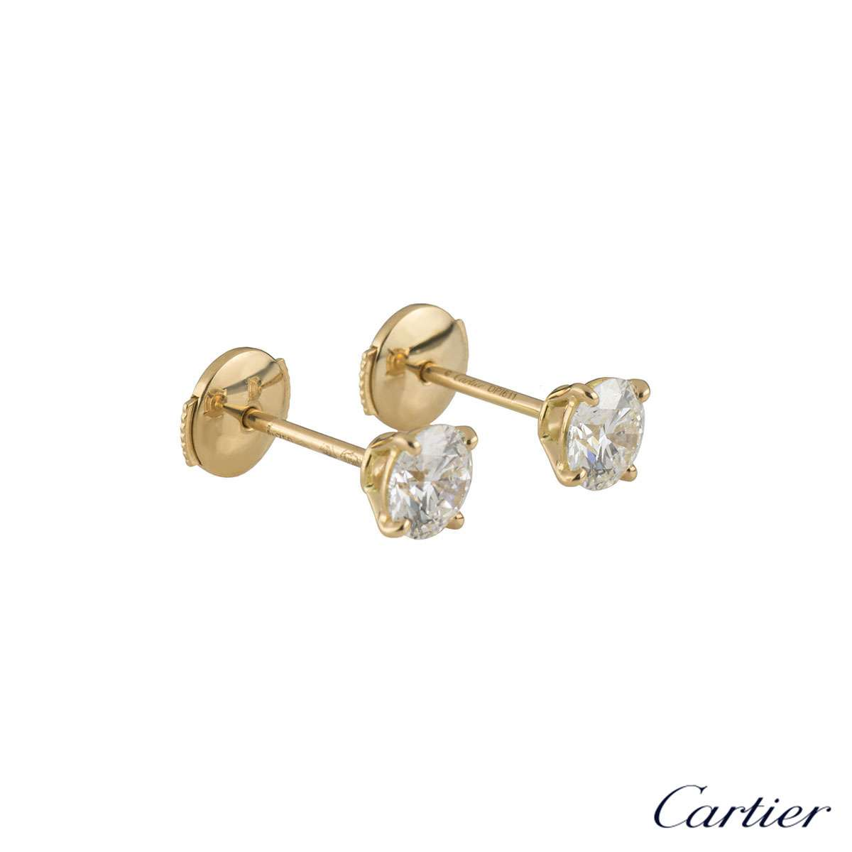 Cartier Yellow Gold 1895 Diamond Earrings X 1 06ct N8023400